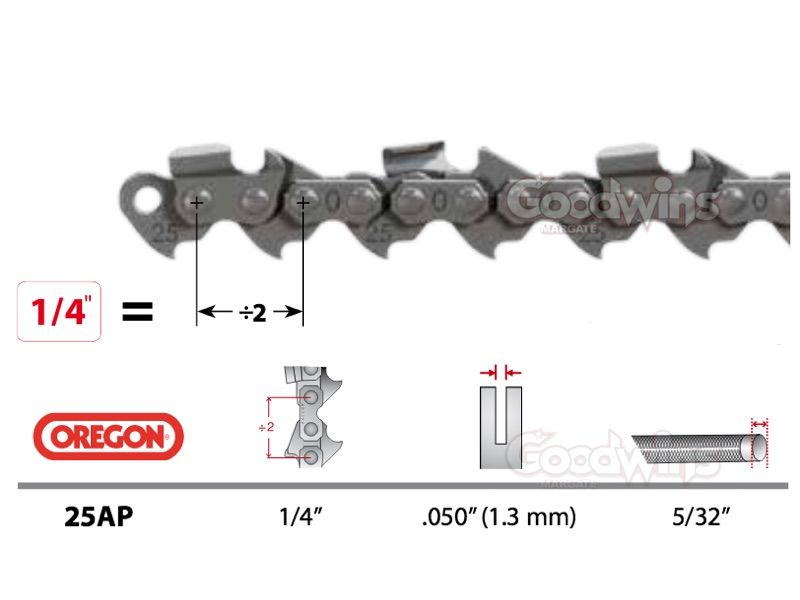 Oregon 25AP042E Chainsaw Chain 1 4 Pitch 0.050 1.3mm Gauge
